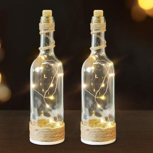 Bright Zeal /Pack of 2/ LED Bottle Lights with Cork and String Lights with Timer (Clear Glass Bottles, Jute Twine Wrapped) - Wine Bottles Decorative Glass Bottles for Kitchen Light Home Decorations