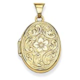 Roy Rose Jewelry 14K Yellow Gold Scrolled Floral Locket 30x21mm