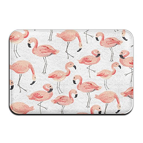 Flamingo Coral Velvet Memory Foam Mats Non-Slip Kitchen Mats,Bath Mats,Welcome Door Mat,Doormat Indoor/Outdoor 15.7