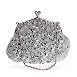 EROGE Beaded Sequin Design Flower Large Clutch Bag Evening Purse (Silver grey)