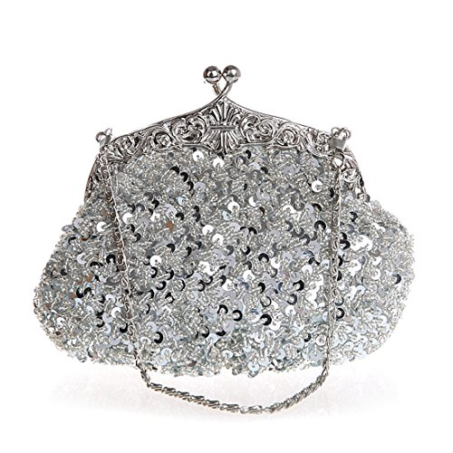Women Evening Clutches Fully Sequined Mesh Beaded Antique Style Wedding Formal Cocktail Clutch Purse (Silver) (Sequin Clutch Mesh)