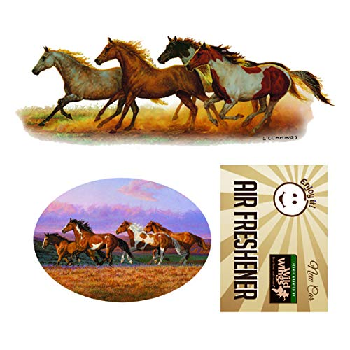 Decals Running Horse - Enjoy It Wild Wings Running Horses Car Sticker and Air Freshener Set