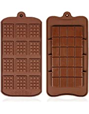 YICOTA 2 Pcs Silicone Chocolate Molds With Two Different Styles of Non Stick Chocolate Mold Suitable for Ice Tray Candy Chocolate Baking Kitchen Mold Baking Plate (Brown)