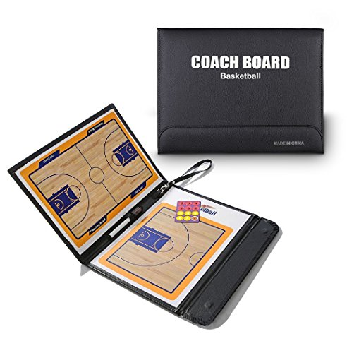 Wrzbest Basketball Coach Tactic Board,Foldable Erasable Coaches Strategy Clipboard,Training,Game Plan and Coach&Referee Study Accessory