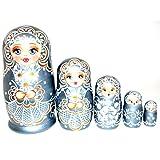 Authentic Unique Russian Hand Painted Handmade Russian Silver Nesting Dolls Set of 5 Pcs Matryoshkas 5'' Artist Signed