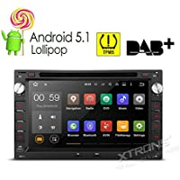 XTRONS 7 Inch Quad Core Android 5.1 Lollipop Car Stereo Capacitive Touch Screen DVD Player GPS 1080P Video Screen Mirroring OBD2 CANbus Built-in DAB+ Tuner Tire Pressure Monitoring for Volkswagen