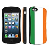 Apple iPhone 5 or 5S Ultra Shock Absorbent Tough Grip Black Case By SkinGuardz - Irish Flag