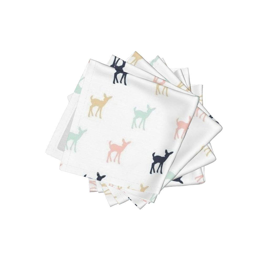 Fawn Organic Cotton Sateen Cloth Cocktail Napkins - Doe Deer Woodland Girl Briar Woods Baby Girl by Littlearrowdesign (Set of 4) 10 x 10in