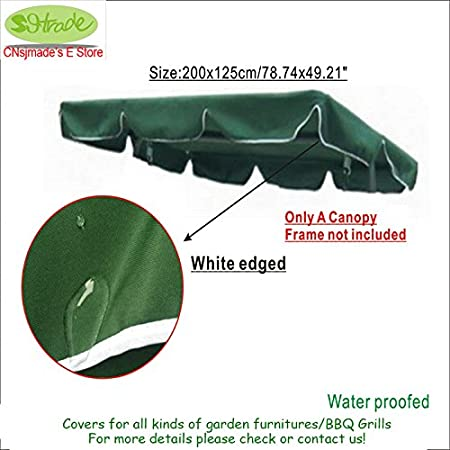 Pinkdose® Free Shipping Sunroof Parts for 3 Seater Garden Swing Chair. 200X125Cm/78.74X49.21&Quot; Dark Green Polyester Fabric, Water Proofed