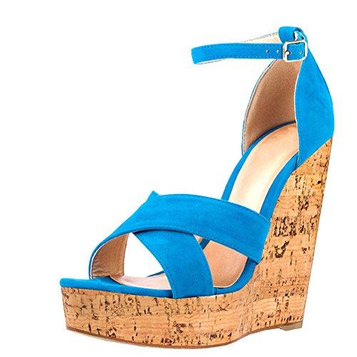para mujer EKS Azul Sandalias de vestir 1Pvna7q