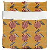 African Stitching Duvet Bed Set 3 Piece Set Duvet Cover - 2 Pillow Shams - Luxury Microfiber, Soft, Breathable
