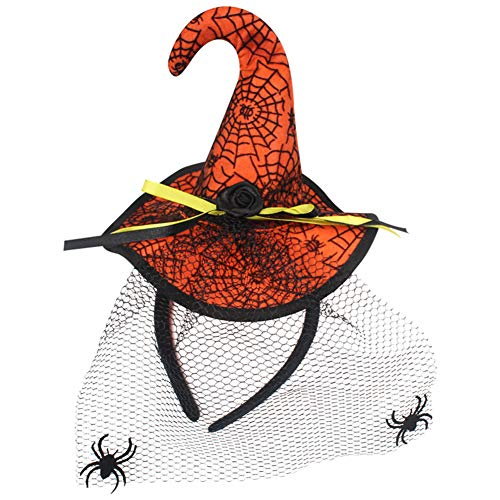 (Aoruisier 1 pcs Halloween Party Props Headwear Headband Witch Hat Hoop Witch Sequin Cap Orange Flocked Veil)