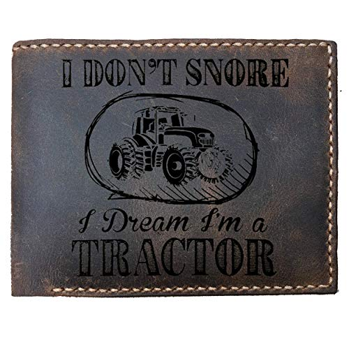 - Max&Mori Custom Laser Engraved Leather Bifold Wallet for Men,Farm Wallet - I don't snore I dream I'm a tractor funny farming, Wallet for farmer men boy country