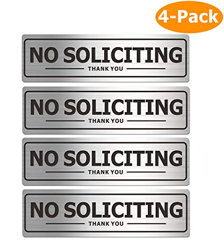 No Soliciting Sign for House, Metal Self-Adhesive Signs for Door Wall, Aluminum Soliciting Signboard for Business Office Home (4 Pack, 7×2 inches)