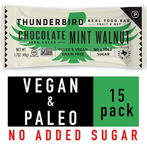 Thunderbird Paleo and Vegan Snacks - Real Food Energy Bars - Chocolate Mint Walnut - Box of 15 - No Added Sugar, Grain and Gluten Free, Non-GMO
