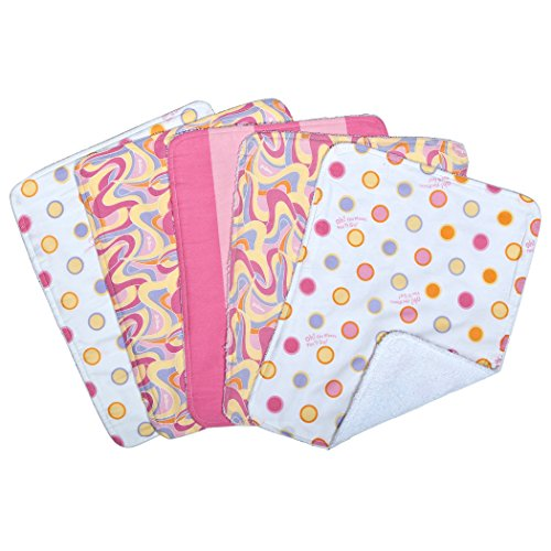 5 Piece Burp Cloth Set, Oh The Places You'll Go, Pink (Hot Dots Burp Cloths)