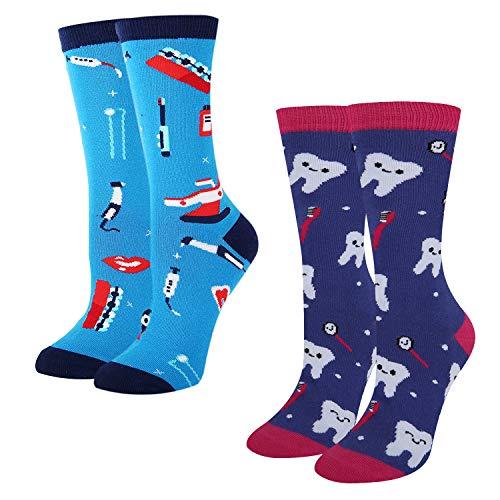 Women's Novelty Crazy Dental Funny Teeth Tool Patterned Crew Socks, Dental Gift from HAPPYPOP
