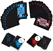 Waterproof Plastic Poker Playing Cards, Black PVC Poker Table Cards Classic Magic Tricks Tool Deck (54pcs)
