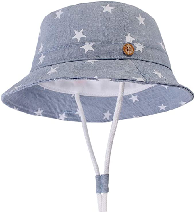 Crizcape Kids Cotton Bucket Hat Sunhat Fisherman Hat Beach Caps for Boys and Girls 50+UPF Protection with Adjustable Straps Foldable