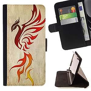 Momo Phone Case / Flip Funda de Cuero Case Cover - Dragón del pájaro de Phoenix Ashes Red Decal - Samsung Galaxy S6 Active G890A