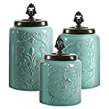 Blue Antique Set of 3 Canisters,