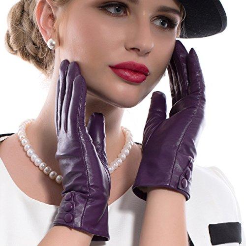 MATSU Fashion Women Winter Warm Leather Touch Screen Gloves 5 Colors M9213 (M, Purple (Long Fleece or Cashmere lining))