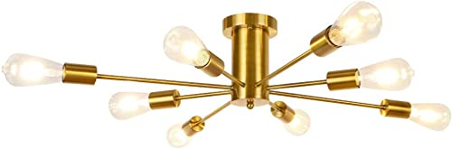 LynPon 8 Lights Modern Ceiling Light Semi Flush Mount Light Fixture Mid Century Gold Brass Sputnik Chandelier for Kitchen Dining Room Living Room Bedroom Foyer Lighting