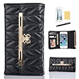 GoodPro Noble Handbag Design PU Leather Wallet Case Cover with Card Holder for Apple iPhone 5 5S Bundle with Screen Protector, Stylus and Cleaning Cloth - Black