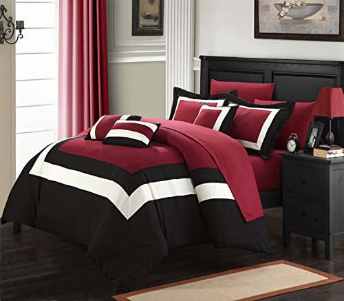 Lord 10 Piece Pieced Color Block Bed in a Bag Comforter Set, With Sheet Set (Queen, Red)