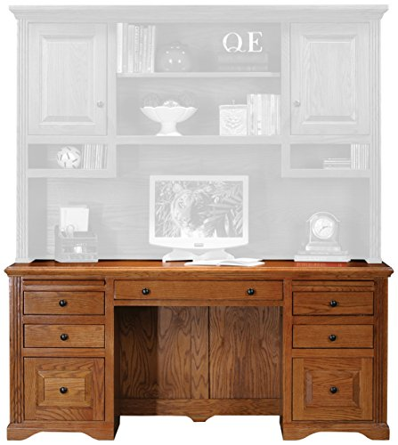 Eagle Oak Ridge Double Pedestal Desk, Medium Oak Finish - Oak Double Pedestal Desk