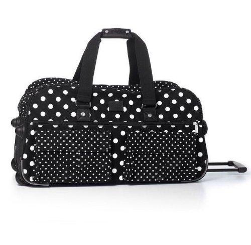Victoria's Secret PINK Women's Black White Polka Dot Wheelie Suitcase -
