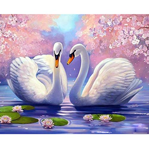LovetheFamily 数字油絵 数字キット塗り絵 手塗り DIY絵 デジタル油絵 ホーム オフィス装飾 40x50cm 白鳥と桜の商品画像