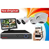 Yes-Original 1080P HD-TVI Security Camera System 4CH DVR Recorder and (4) 2 MP 1920TVL Indoor / Outdoor Fixed CCTV Cameras - NO Hard Drive Included