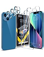 [3+3 Pack] EGV 3 Pack Screen Protector for iPhone 13 6.1 inch with 3 PCS Camera Lens Protector Tempered Glass, HD Screen, Bubble Free, Anti-Scratch, Case Friendly, Film Easy Installation Tray, Sensitive Touch, Ultra-Thin