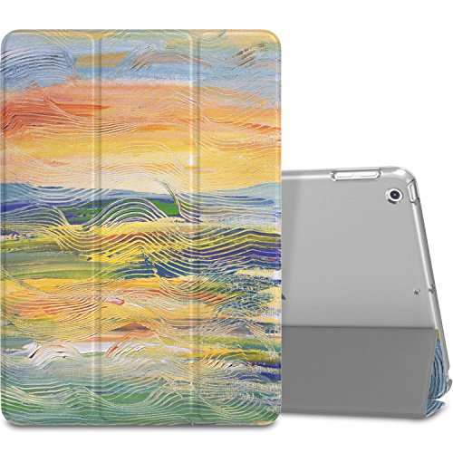 MoKo Case Fit 2018/2017 iPad 9.7 6th/5th Generation - Slim Lightweight Smart Shell Stand Cover with Translucent Frosted Back Protector Fit iPad 9.7 2018/2017, Painting Village(Auto Wake/Sleep)