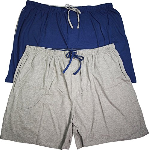 Hanes Jersey Shorts - Hanes Men's Jersey Lounge Drawstring Shorts with Logo Waistband 01005/010052X, 2XL Blue Depth/Active Grey Heather