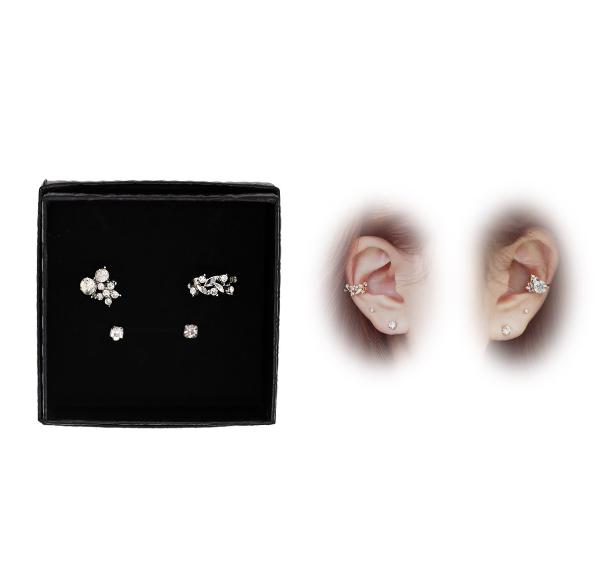 Orris Crystal Mounted Flower And Vine Style Ear Cuff Set Earring