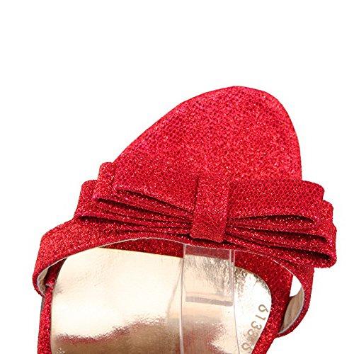Amoonyfashion Womens Gesp Open Teen Spikes Stiletto Effen Hakken-sandalen Rood