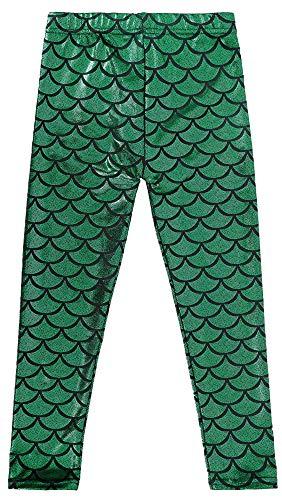 Simplicity Girls Mermaid Fish Scale Print Full Length Leggings Pants, Green, S