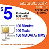 SIM Card with 1st Month Service - Standard Micro Nano - No Activation Fee No Contract - 30 Day Service