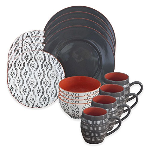 Dinnerware Set Includes 4 dinner plates, 4 salad plates, 4 bowls, 4 mugs, Dishwasher and microwave safe