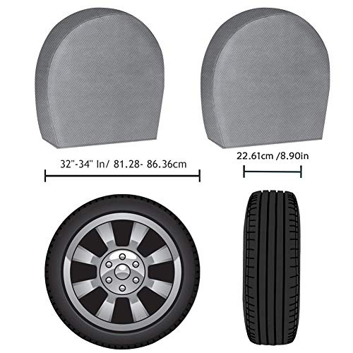 ACUMSTE-Set-of-4-RV-Tire-Covers-Tire-Covers-for-RV-Wheel-Motorhome-Wheel-Covers-Waterproof-UV-Coating-Tire-Protectors-for-Trailer-Truck-Camper-Auto-Fits-32-34-Tire-Diameters