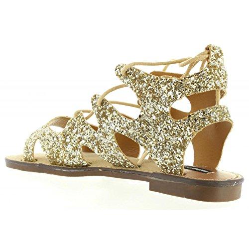 Sandales Plat MTNG 53674 Glitter C24518 pour Femme 1YYwdS