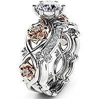 Aisamaisara 925 Sterling Silver & Rose Gold Filled White Sapphire Flower Wedding Ring Set #1 (7)