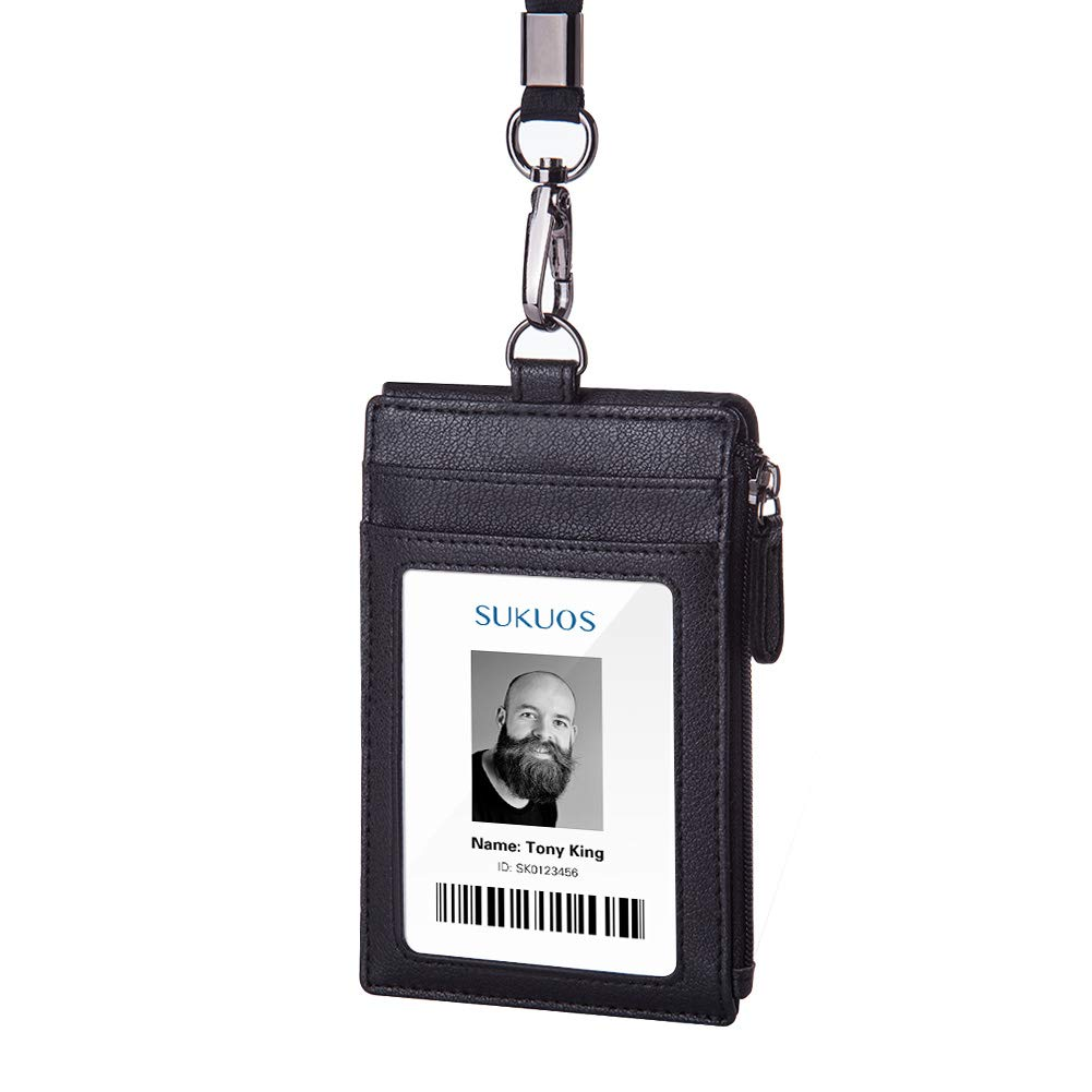 ID Badge Holder with Zipper, Sukuos Upgraded PU Leather ID Card Holder with 5 Slots, 1 Secure Cover and 20 inch Woven Lanyards for ID Badges, School ID, Drivers License, Debit Card