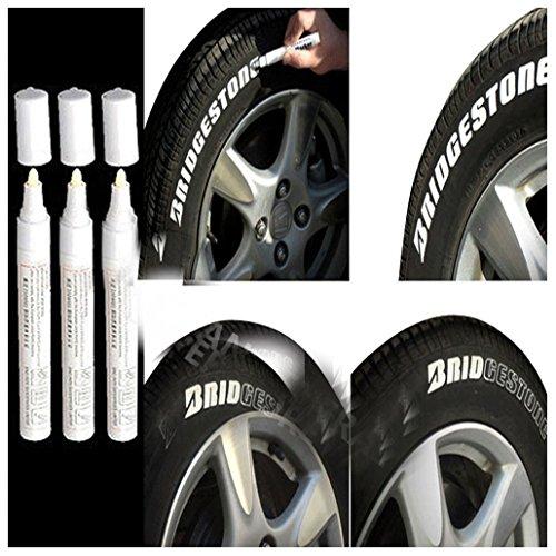 3pc White Paint Pen Marker Waterproof Permanent Car Tire Lettering Rubber Letter (Discount Automotive Tools)