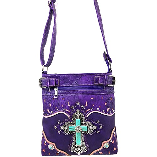 CrossBody Embroidery Western Handbag Justin Cut Silver Laser Messenger West with Cross Rhinestone Flower Purple Strap xBxI7qw