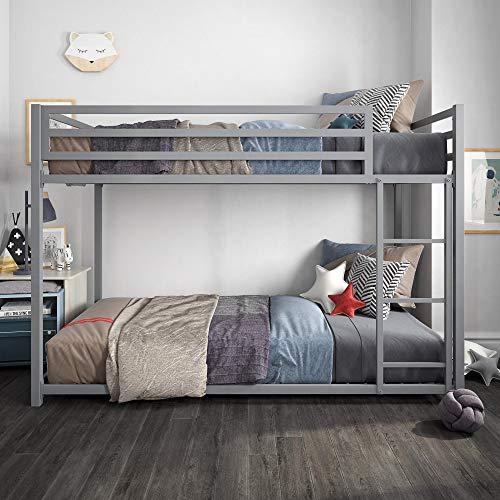 DHP Miles Twin Metal Bunk Bed, Kid's Bedroom, Space-Saving Design, Twin/Twin, Silver