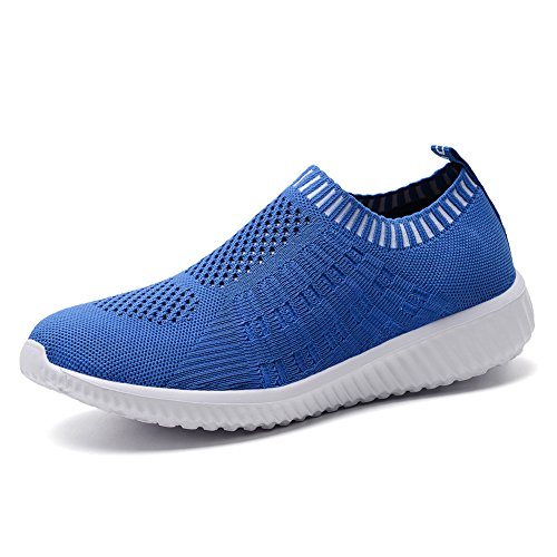 KONHILL Women's Lightweight Casual Walking Athletic Shoes Breathable Mesh Running Slip-On Sneakers, Blue, 39
