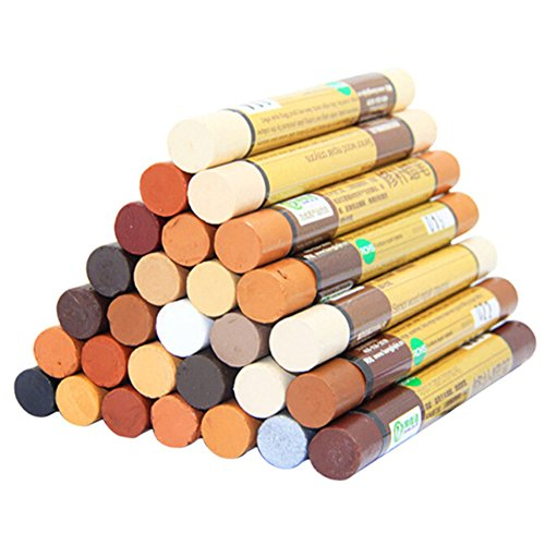 Chige Repair Wax Sticks - Set Of 4 - 28 Color Choice Everything You Need For Furniture Touch Up For Scratches, Nicks, Scuffs (4-pcs one) ()